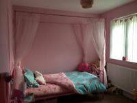 Pink 4 Poster Bed Frame with Drapes