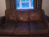 large leather tan sofa set 3 seeter and corner sofa free