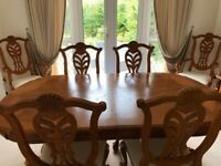 Solid Japanese, varnished oak dining table and 6 chairs (including 2 carvers)