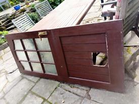 Hardwood stable door back door with hole for cat flap