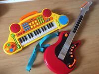 Toy keyboard & guitar