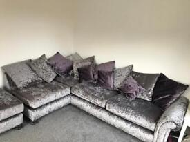 Scs crushed velvet corner sofa