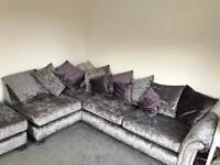 Scs crushed velvet corner sofa