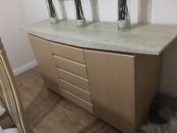 Modern Beach Sideboard with 5 Drawers and Granite Top from Housing Units