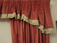 Beautiful Fully Lined Terracotta Colour Curtains With Pelmet Valance, Tie Backs. Excellent Condition