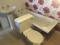 White Bathroom Suite Ex Floor Unit Never Used Bath Sink Toilet
