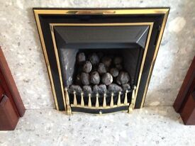 Gas fire with stone hearth
