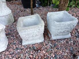 Pair of square concrete pots garden