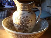 Large Victorian brown transfer print bowl and jug
