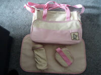 Pretty Pink Baby Changing Bag With Mat, Bottle holder & Nappy bag