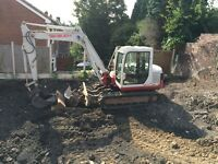 mini digger and man hire Halesowen stourbridge west midlands birmingham grab hire stone soil sand