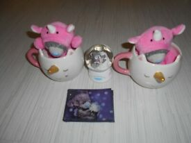 Tatty Teddy Collection Unicorn Cups Plush wallet and Paperweight Bundle Job lot