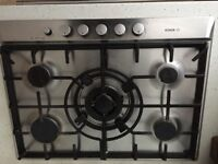 Gas hob. With five burners. BOSH. Good condition. Nobs a little worn.
