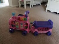 **QUICK SALE** V-TECH Girls pink train with trailor+ Accessories electronic noises, buttons, lights