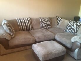 Corner sofa & storage foot stool