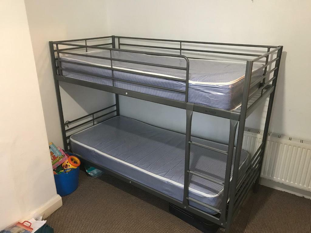 Ikea Metal Bunk Bed And 2 Mattress Waterproof Pvc Fabric In