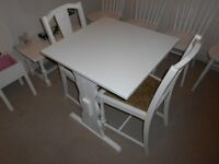 TABLE AND TWO CHAIRS PAINTED COUNTRY WHITE
