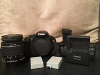 CANON EOS 600D + CANON LENS 18-55mm kit - with BATTERY GRIP, 2 BATTERIES AND CHARGER INCLUDED