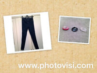 Girls age 12 (152cm) pair of denim jeggings from New Look with 3 different coloured belts