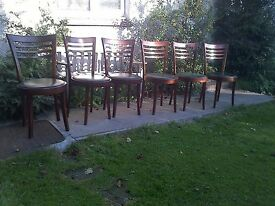 Set of 6 Sylish Bistro Cafe Kitchen Chairs with Round Vinyl Seats