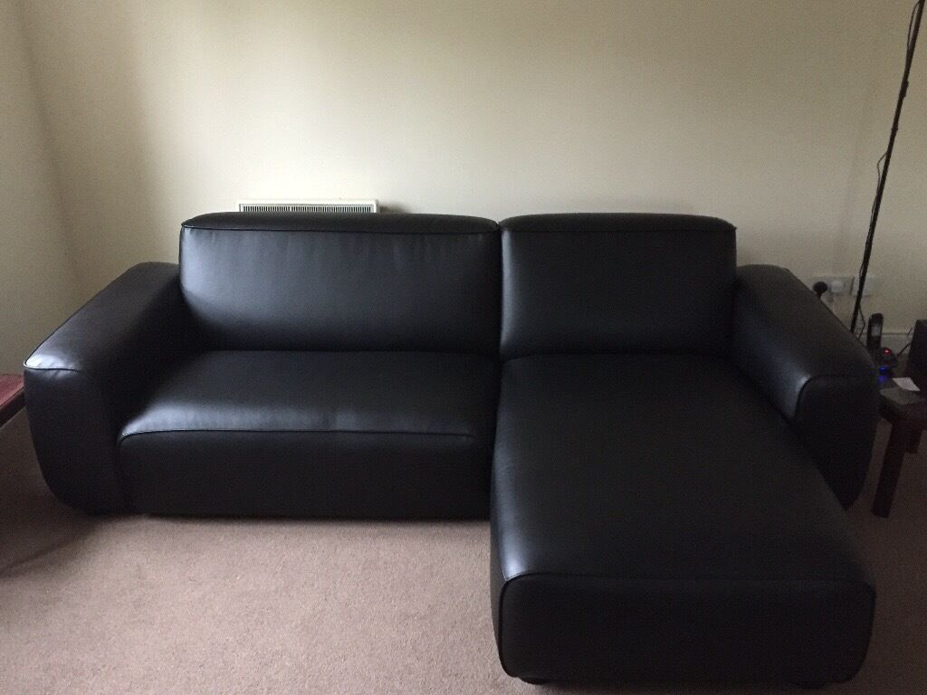 Ikea 2 seater dagarn chaise lounge kimstad black sofa in for 2 seater lounge with chaise