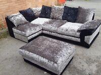 Nice Black & silver crushed velvet corner sofa and footstool.or larger corner.1 month.can deliver