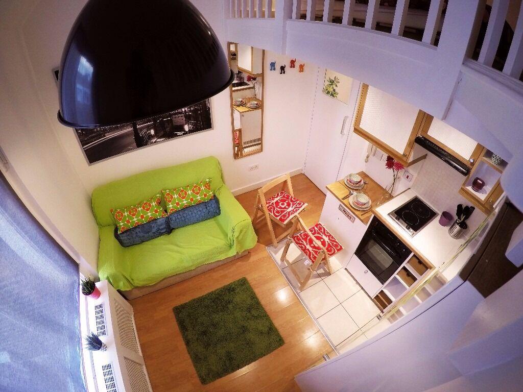 Conveniently located split level double studio in W14 West Kensington 400 pw SHORT LET
