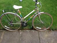 """Centurion women's bike 27"""" wheels,5 gears,front and back mudguards,front light ,bell,and back rack"""