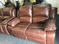 New/Ex Display LazyBoy Brown Leather 2 Seater Recliner Sofa