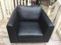 Black leather armchair with Crome legs very good condition £50 buyer collects