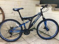 Mountain bike dual suspension and disc brakes