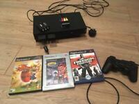 PlayStation 2 Console, Games, Controller and HDMI cable with two Memory Cards