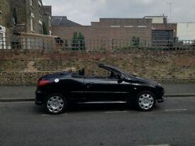 convertible Diamond pearl black Peugeot 206 good condition long MOT priced at £595