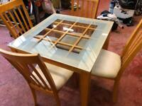 Wooden Table With Glass Top & 4 Chairs