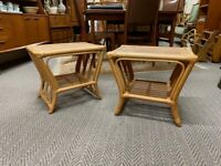 Pair Bamboo Side Tables - Retro Vintage Mid Century