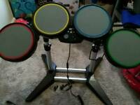 Xbox 360 drum set, guitar, mic