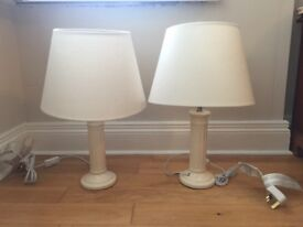 Pair of cream bedside lamps dunnes