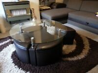 Stylish Modern Glass Coffee table with storage and 4 ssitting stools space saving