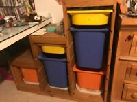 Ikea Storage Unit with boxes
