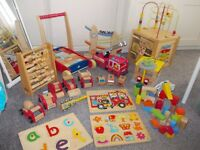 LARGE WOODEN TOY BUNDLE ACTIVITY CUBE PUZZLES FIRE ENGINE GARAGE & MORE