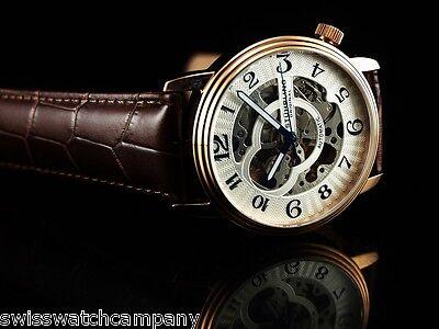 Stuhrling Original Men's Skeleton Delphi Oracle Automatic 18KRGIP Leather Watch