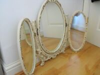 French Style Free Standing - DRESSING TABLE 3 way adjustable angle MIRROR SET