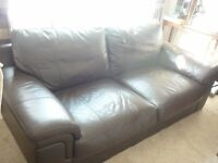 Leather Settee and Armchair