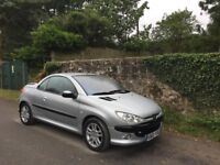 Peugeot 206 CC, silver in a clean condition, 2002, with fresh MOT