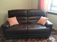 3 Piece Leather suite, two years old in excellent condition, purchased from Frasers of Ellon