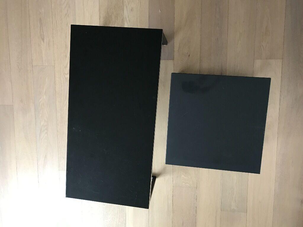 habitat kilo black coffee table and dark grey metal side table