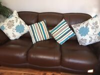 Three seater and two seater sofa brown