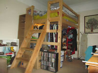 *REDUCED* Double solid wood loft bed with stairs