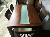 Julian Bowers solid wood dining table and 6 chairs (FREE DELIVERY)