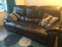Dark brown leather 3 piece suite with electric reclining chairs